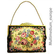 Jugendstil Hand Tasche Abendtasche Petit Point Stickerei needlework Lupenarbeit