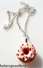 GORGEOUS HANDMADE PINK DONUT NECKLACE + FREE GIFT BAG