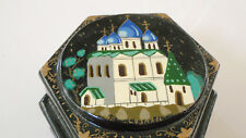 VINTAGE RUSSIAN HAND PAINTED WOODEN JEWELRY BOX 2 COMPARTMENTS