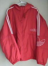 Adidas Vintage 90s Jacket Hooded Windbreaker Trefoil Quilted Red White Bomber