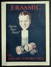 Erasmic Shaving Stick Saves Your Face 1929 1 Page Advertisement Ad 6174