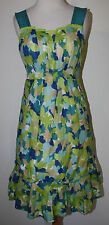 GIRLS FROM SAVOY Anthropologie Blue Teal Green Floral Pleated Dress 4