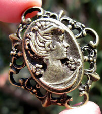 ESTATE SALE Brass Cameo Pendant Mourning Vintage Antique Stamped Victorian Gold