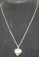 Vtg Sterling Silver 925 Etched Puffy Valentine Heart Necklace Pendant