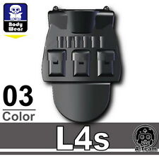 Black L4S (W30) Tactical Army Vest compatible with toy brick minifigures SWAT