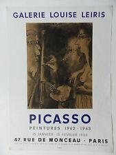 PABLO PICASSO 1881-1973 RARE ORIGINAL MOURLOT POSTER GALERIE LOUISE LEIRIS 1964