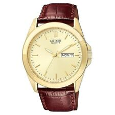 Mens Citizen Quartz Brown Leather Band Gold Dial Day and Date Watch BF0582-01P