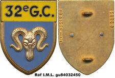 32° Groupement de Camp,sigle G.C. bélier,fixation 2 pontets,Fraisse 2092(7023)