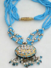 INDIAN AUTHENTIC TURQUOISE & DIAMONTE PENDANT with TINY GLASS BEADS £8.99 NWT