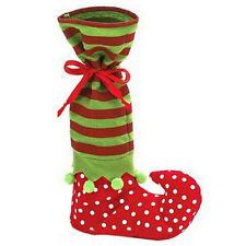 Santa Claus Elf Shoe Boot Suspenders Candy Gift Bag Christmas Stocking Socks
