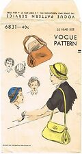 Hat & Bag Fabric Sewing Pattern VOGUE # 6831 Millinery Cap Cancer Chemo Alopecia