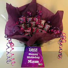 PERSONALISED BIRTHDAY TURKISH DELIGHT CHOCOLATE SWEET BOUQUET HAMPER
