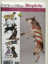 Simplicity Pattern 1578 Large Size Dog Clothes jackets dogs big outfits coats