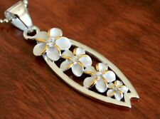 Hawaiian Jewelry 925 Sterling Silver PLUMERIA SURFBOARD Pendant Necklace SP26205