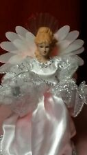 """10"""" LED Fiber Optic Color Changing Angel Tree Topper White w/Silver Accents"""