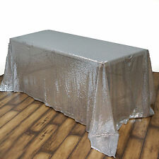 "90x156"" Silver SEQUIN RECTANGLE TABLECLOTH Wedding Party Catering Linens SALE"