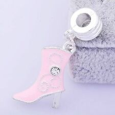 1pcs Pink Enamel Crystal Women Boots Charms Beads Fit European DIY Jewelry