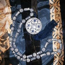 Hand-Knotted Asian Porcelain Blue White Necklace Fifth Ave Jewelers Vtg New SALE