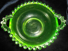 Green Vaseline glass candlewick pattern Nappy Bowl dish dresser uranium nut soap