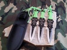 "Z Hunter Zombie Triple Knife Throwing Set Thrower 3 PC 7.5"" 2 Tone Blade 0743"