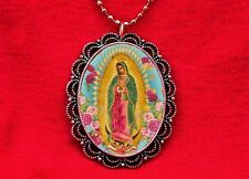 OUR LADY OF GUADALUPE VIRGIN MARY SAINT MEDAL FLOWERS ROSARY PENDANT NECKLACE