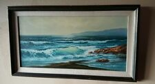 FRAMED ORIGINAL OCEAN WAVES OIL PAINTING ON CANVAS SIGNED BY RENOWNED ARTIST