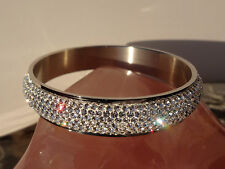 "Steel By Design ""Pave Faceted Crystal"" Bangle Bracelet - Gorgeous!"