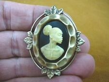 (CA10-6) RARE African American LADY ivory + black CAMEO Pin Pendant JEWELRY