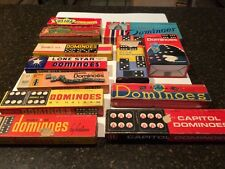 Lot of 12 Boxes Sets of Vintage Wooden Dominoes