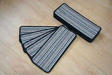 14 Open Plan Carpet Stair Treads Fancy Stripe Black Pads! 14 Large Striped Pads