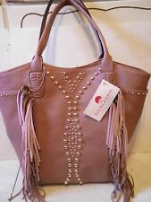 NEW BIG BUDDHA WOMENS FAUX LEATHER TASSEL HANDBAG TOTE EXTRA LARGE BLUSH BROWN