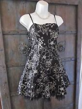 LIPSY Dress Made in UK  Size S / M 100% Cotton Black Floral Womens Party Dress