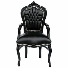 Retro Armlehnstuhl Barock Esszimmer Gothic Style Kunstleder Holzrahmen schwarz