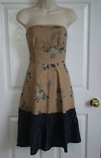 TABITHA Anthropologie Womens Strapless Floral Dress Size 4