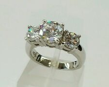 18k Solid White Gold Three Stones 6 mm Engagement/Wedding Ring