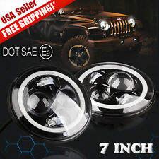 "7"" Cree LED Headlights White Halo Amber Turning Signal Lights For Jeep Wrangler"