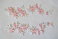 "#4096A Lot 2Pcs 6-3/4"" White,Pink Wild Flower Embroidery Applique Patch/Pair"