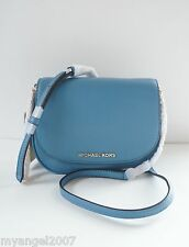 NWT MICHAEL KORS BEDFORD SMALL CROSSBODY SADDLE BAG/ CORNFLOWER