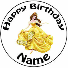 """Personalised Birthday Beauty & The Beast Belle Round 8"""" Precut Icing Cake Topper"""