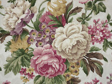 7/8 YDS Mill Creek Floral CHAMPAGNE Rose Green Purple Home Decor Drapery Fabric
