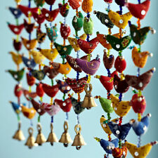 Fair Trade 10-Bird Bell Tota Traditional Indian Hanging Decoration, Recycled
