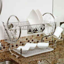 Chrome 2 Tiers Dish Drying Rack Drainer Dryer Tray Kitchen RV Plate Cup Storage@