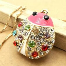 New design gold-plated Ladybug crystal mosaic pendant long necklace KK294