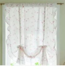 Simply Shabby Chic Rose Ruffle Window Panel Tie Shade Curtain Pink Floral Nwot