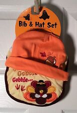 Halloween Thanksgiving Bib & Hat Set Gobble Gobble Costume -Infant - New