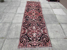 Old Traditional Hand Made Persian Rug Oriental Wool Brown Narrow Runner 288x87cm
