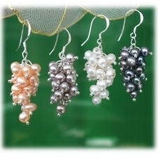 Wholesale 4Pair Freshwater Pearl And Silver Earrings