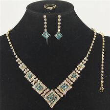 Blue Austrian Crystal Rhinestone Necklace Earrings Bracelet Ring Set Squares