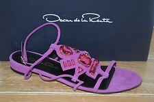 NIB OSCAR de la Renta Womens NIRO Magenta Suede/Crystal Sandal Size 9 EUR 39