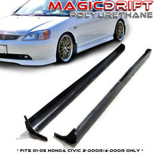 For 01-05 Honda Civic 2/4dr RS Style Black Polyurethane PU Side Skirts Body Kit